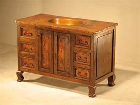 48 quot wood copper bathroom vanity artisan crafted home