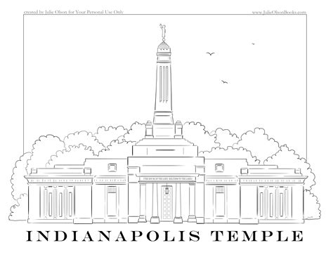 Indianapolis Temple Coloring Page | julie olson books author illustrator indianapolis