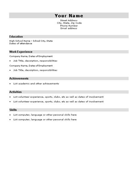 basic resume templates for high school students basic resume template for high school students http
