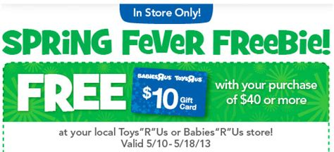Can You Use Toysrus Gift Cards At Babies R Us - toys quot r quot us babies quot r quot us free 10 gift card with any 40 purchase money saving mom 174