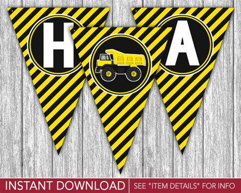 construction happy birthday banner printable construction happy birthday banner dump truck party