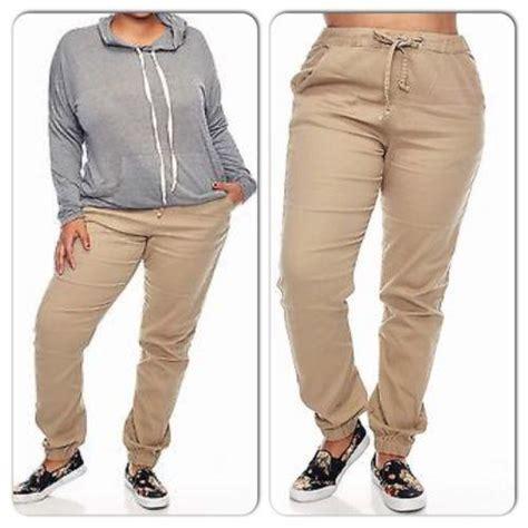 green plus size khaki pants for women plus size woman twill khaki joggers pants from