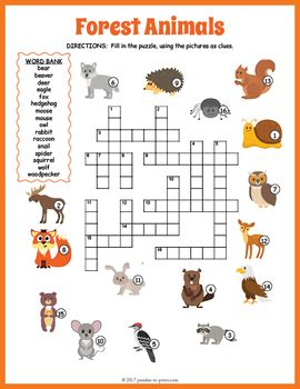 printable crossword puzzle animals forest animals crossword puzzle by puzzles to print tpt