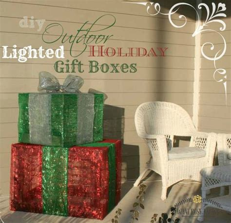 outdoor lighted christmas gift boxes front porch