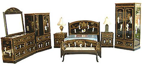oriental bedroom furniture oriental bedroom set 8 pc shiny black mother of pearl