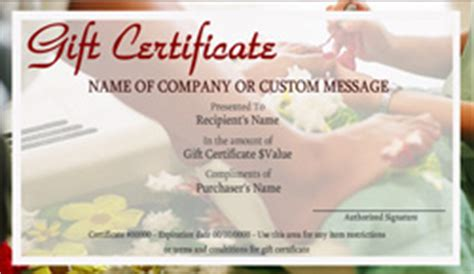 beauty  nail salon gift certificate templates easy   gift certificates