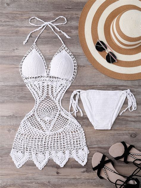 Floral Halter Monokini White L by White L Halter Hollow Out Knitted Crochet Monokini One