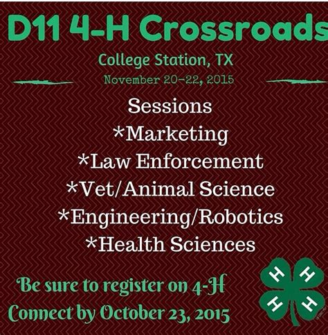 D11 Calendar Crossroads District 11 4 H And Youth