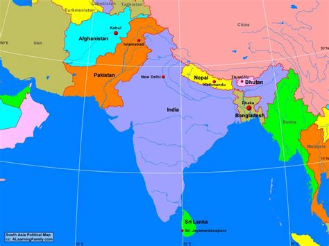 asia s south asia political map a learning family