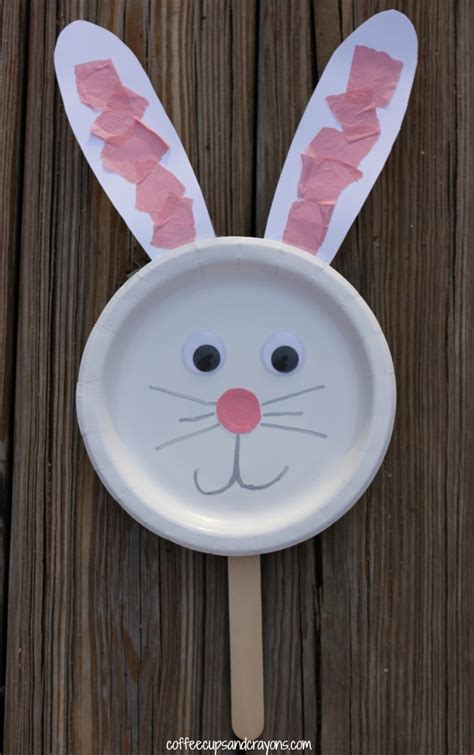 Paper Plate Bunny Craft - bunny paper plate puppet craft coffee cups and crayons
