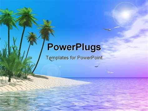 a tropical beach powerpoint template background of