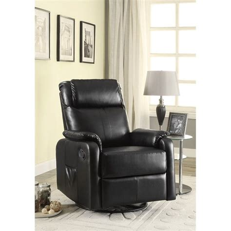 Coaster Swivel Recliner by Coaster Faux Leather Swivel Glider Recliner With Side
