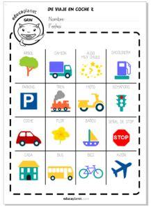 cadenas coche ingles viaje en coche bingo gratis y actividades para jugar con
