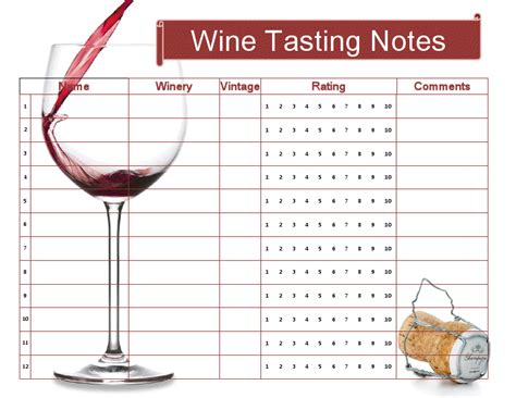 Wine Tasting Template free wine tasting sheet printable cheers cocktail hour