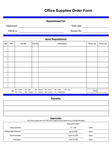 standard order form template best photos of standard office supply order form office