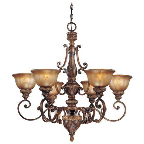 Chandelier With Brown Glass In Illuminati Bronze Finish Chandelier Bronze