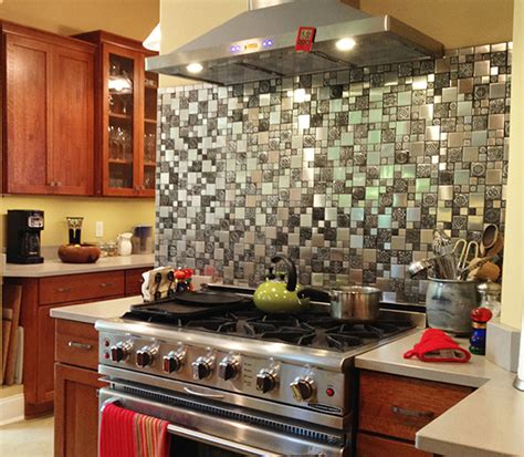 kitchen backsplash stainless steel tiles stainless steel backsplash metal mosaic tile