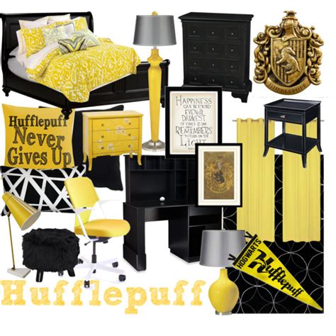 Home Decor Yellow And Gray hufflepuff bedroom polyvore