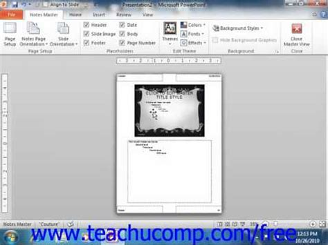 tutorial on using powerpoint 2010 powerpoint 2010 tutorial using the notes master microsoft