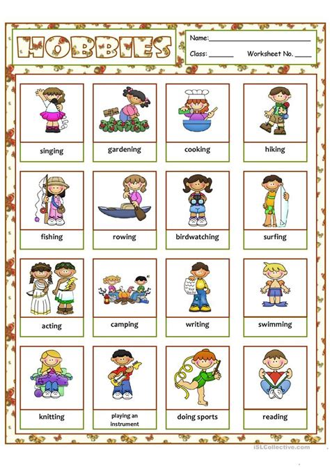 hobbies free time activities worksheet free esl