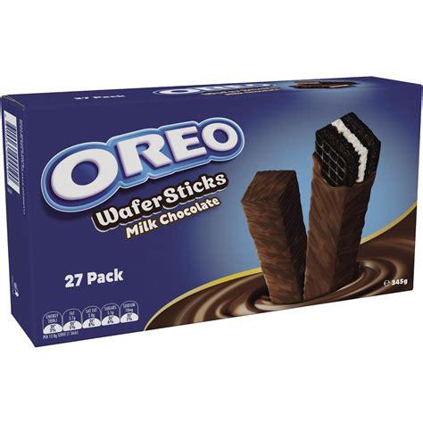 oreo milk chocolate wafer sticks 27pk 345g woolworths