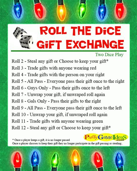 printable dice gift game roll the dice gift exchange games