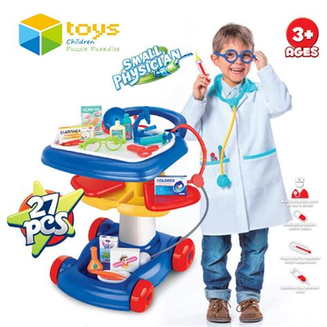 Dokter Playset Trolley Plastic Pretend Play Tool Trolley Doctor Toys