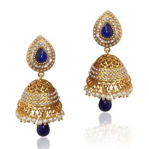 Teardrop Vases Buy Ethnic Pearl Jhumka Earrings With Blue Stones V801 Online