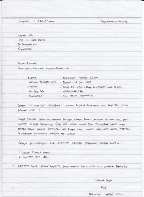 contoh surat lamaran kerja tulis tangan contoh surat