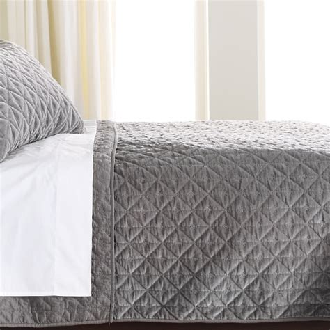 Velvet Quilts And Coverlets Gresham Graphite Velvet Coverlet And Shams