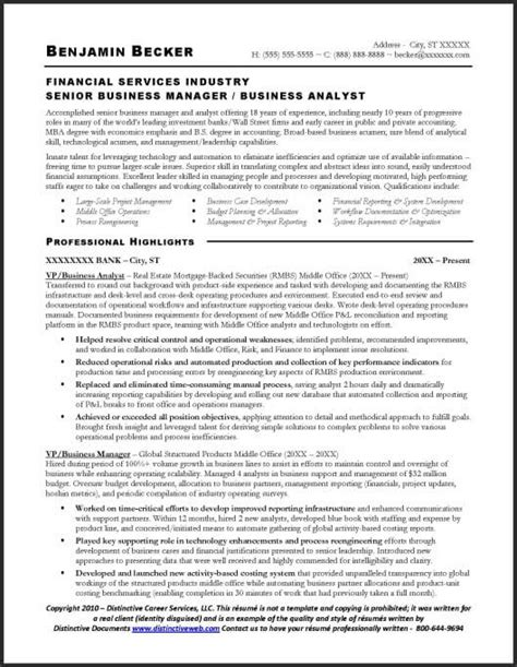 Resume Sles For Business Analyst Resume Sle Business Analyst
