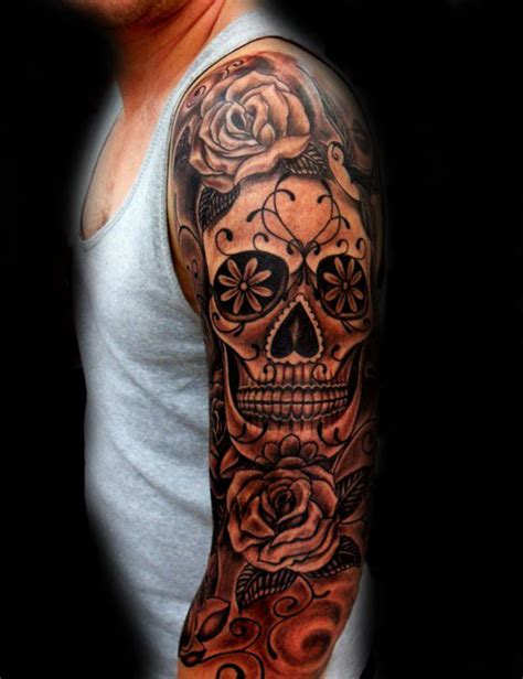 sugar skull tattoo for men day of the dead sleeve www pixshark images