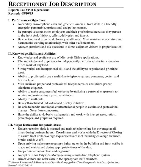 front desk receptionist duties front desk job description job description for front