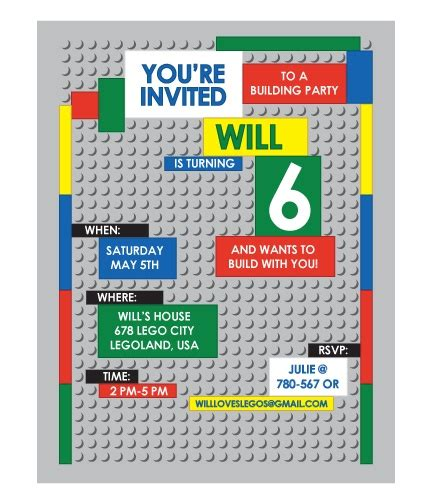 printable birthday invitations lego lego printable invitations for the home pinterest