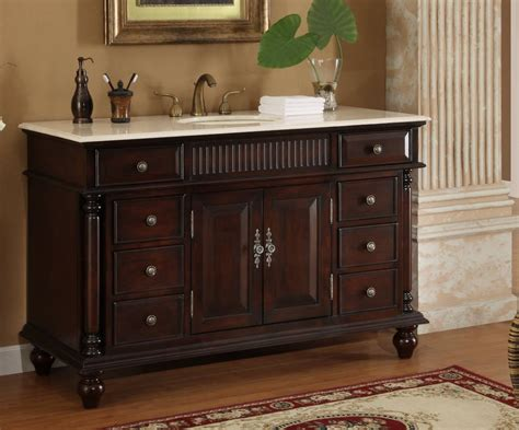 53 Bathroom Vanity 53 Inch Bathroom Vanity Single Sink Mahogany Base Marble Top