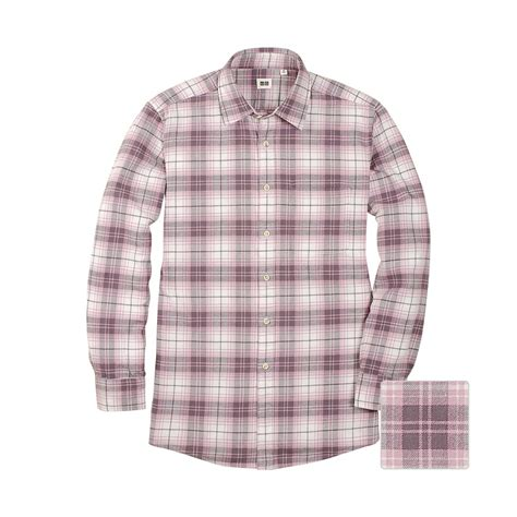 Uniqlo Flannel Shirt uniqlo flannel check sleeve shirt a in pink for lyst