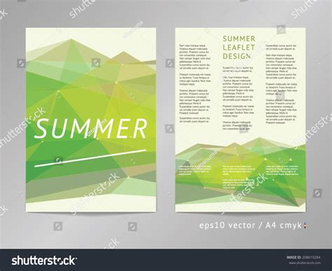 threecolumn double sided vector leaflet brochure stock