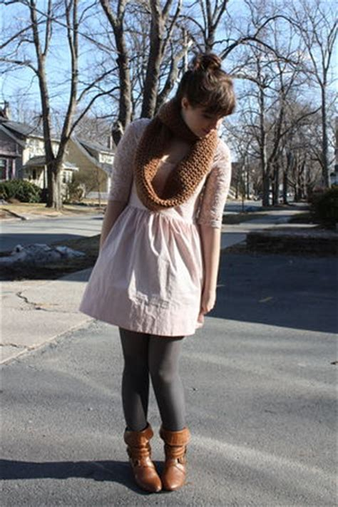 pink topshop dresses gray hm tights brown scarves