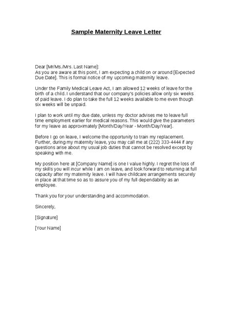 maternity leave notice letter template sle maternity leave letter hashdoc