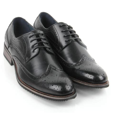 smart shoes mens lace up brogues leather lined office shoes toe