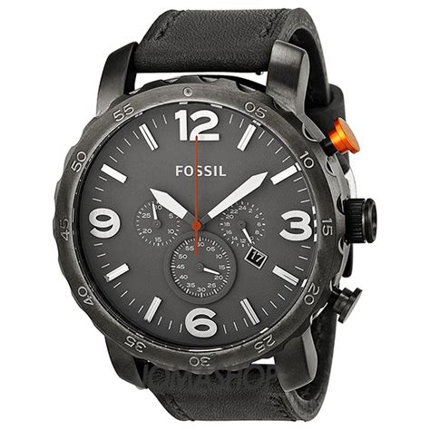 Fossil Nate Black Grey fossil nate chronograph grey leather s jr1419