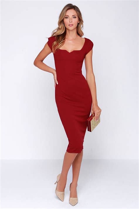 Produk Eksklusif L Js Clara chic wine dress midi dress bodycon dress 64 00