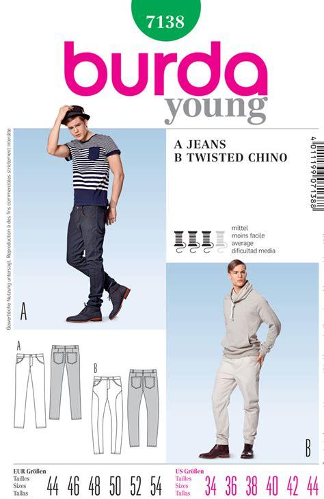 sewing pattern jeans mens burda 7138 men s jeans burda patterns sewing patterns