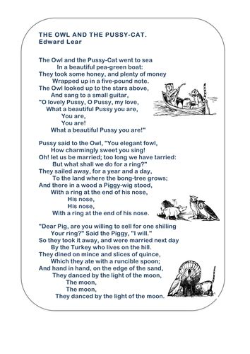 new year poems ks1 the owl and the pussycat printable poem by ks2history