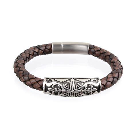 Genuine Leather Cross Bracelet s leather bracelet cross antique brownrichbud handmade