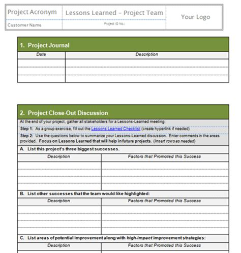 lessons learned template project management project templates project management templates