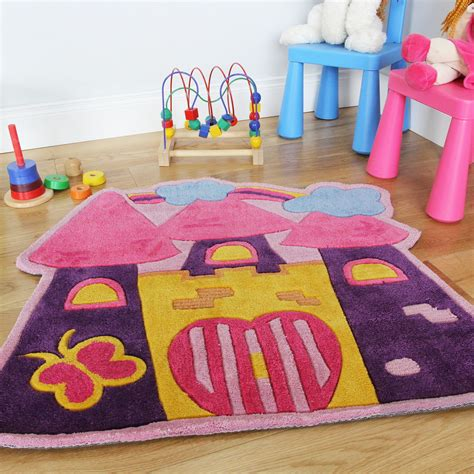 Girls Pink Fairytale Castle Childrens Bedroom Rug Soft Rug For Playroom