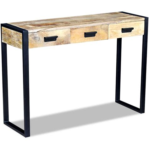 Mango Wood Console Table Vidaxl Console Table With 3 Drawers Solid Mango Wood 110x35x78 Cm Vidaxl Co Uk