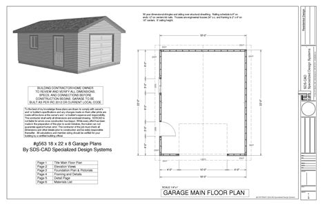 blueprints for garage download free sle garage plan g563 18 x 22 x 8 garage
