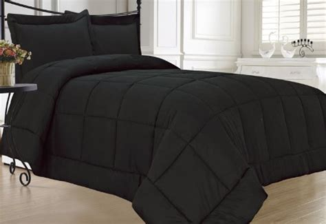 Kinglinen Black Down Alternative Comforter Set Full Queen